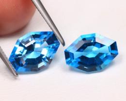 Swiss Blue Topaz 4.52Ct 2Pcs Fancy Cut Natural Swiss Blue Topaz B1127