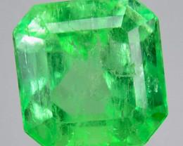 1.50Cts Natural Vivid Green Emerald Octagon Cut Colombia