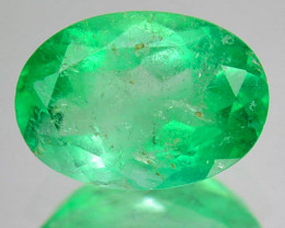 1.21Cts Natural Vivid Green Emerald Oval Cut Colombia
