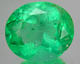 1.38Cts Natural Vivid Green Emerald Oval Cut Colombia