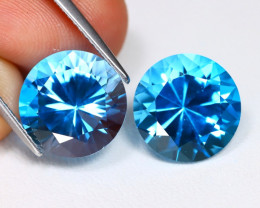 Swiss Blue Topaz 11.28Ct 2Pcs Round Cut Natural Swiss Blue Topaz Lot B1266