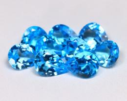 Swiss Blue Topaz 10.25Ct 9Pcs Pear Cut Natural Swiss Blue Topaz Lot B1267