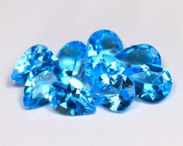Swiss Blue Topaz 10.17Ct 9Pcs Pear Cut Natural Swiss Blue Topaz Lot B1270