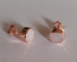 Druzy 925 Sterling silver Rose Gold plated Earrings #1