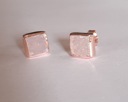 Druzy 925 Sterling silver Rose Gold plated Earrings #2