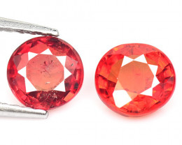 1.60 Cts 2 Pcs Amazing Rare Natural Fancy Orange Red Sapphire Loose Gemston