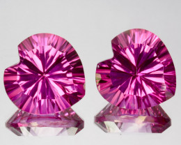 ~LOVELY~ 4.52 Cts Candy Pink Natural Topaz 8mm Heart Concave Cut 2Pcs Brazi