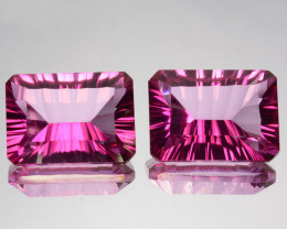 ~CONCAVE CUT~ 5.31Cts Candy Pink Natural Topaz 9 X 7mm Octagon Concave 2 Pc