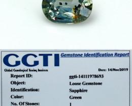 NR!!! 0.95 Cts~ GGTI-Certified- Green Sapphire Gemstone