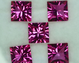 21.95 Cts Candy Pink Natural Topaz 9mm Square Concave Cut 5Pcs Brazil