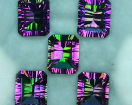 20.27 Cts Rainbow Sparkle Natural Topaz 10x8mm Emerald Concave Cut 5Pcs Bra