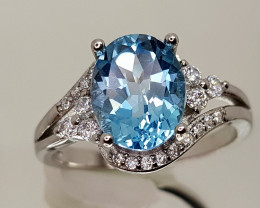 21Crt Topaz 925 silverRing 8 Natural Gemstones JI24