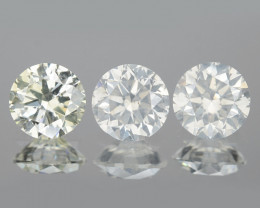 0.62 Cts 3pcs 3.7 mm RD Untreated Fancy White Color Natural Loose Diamond