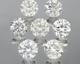 *No Reserve* Diamond 1.23 Cts 7pcs 3.55mm Rd Untreated Fancy White Natural