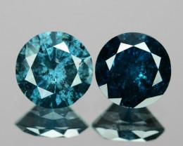 0.80 Cts 2pcs 4.6 mm Sparkling Fancy  Blue Color Natural Loose Diamond