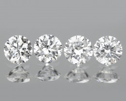 0.19 Cts 4pcs 2.3 mm Untreated Fancy White Color Natural Loose Diamond
