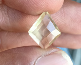 LEMON QUARTZ CHECKERED CUT NATURAL GEMSTONE VA1313