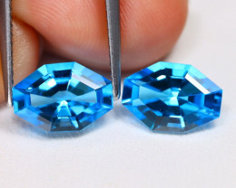 Swiss Blue Topaz 4.36Ct 2Pcs Fancy Cut Natural Swiss Blue Topaz AB1519