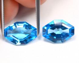 Swiss Topaz 4.29Ct 2Pcs VVS Fancy Cut Natural Swiss Blue Topaz B1591