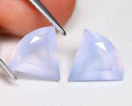 Chalcedony 3.51Ct 2Pcs Trillion Cut Natural Blue Color Chalcedony B1509