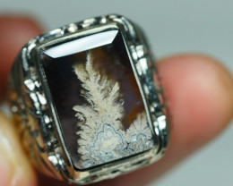96.270CRT BEAUTY MOSS AGATE INDONESIA MONEIL RING