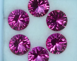 ~CONCAVE CUT~ 18.58Cts Candy Pink Natural Topaz 9mm Round 6Pcs Brazil