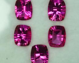 ~CONCAVE CUT~ 16.95Cts Candy Pink Natural Topaz 10 X 8mm Cushion 5Pcs Brazi