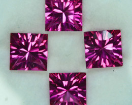 ~CONCAVE CUT~ 11.63Cts Candy Pink Natural Topaz 8mm Square 4 Pcs Brazil