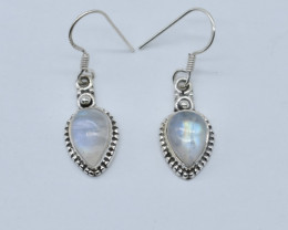 RIANBOW MOONSTONE EARRINGS 925 STERLING SILVER NATURAL GEMSTONE JE57