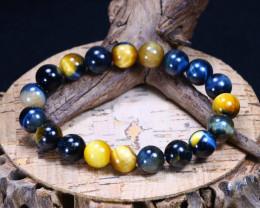 144.05Ct Natural Iron Tiger Eye Beads Bracelet B1663