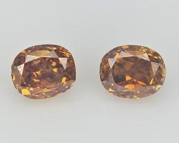 2 pcs/0.16 CTS , Natural Fancy Orange Tone Diamond , Diamond For Jewelry