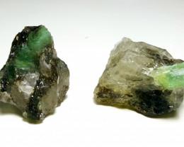 Amazing Natural color Emerald 2 specimen with Quartz 110Cts-A
