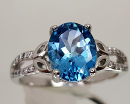 20Crt Topaz 925 silverRing 9 Natural Gemstones JI25