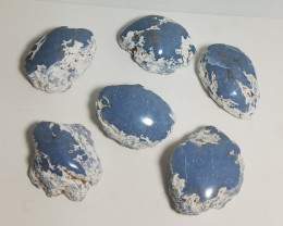 Angelite Half Polished AND HALF ROUGH LOT