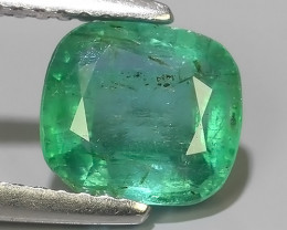 1.55 CTS EXCELLENT NATURAL ZAMBIAN EMERALD UNHEATED  CUSHION DAZZLING!!