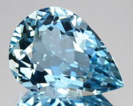 4.12 Cts Fabulous Natural Beautiful Blue Aquamarine Pear Cut Ref VIDEO