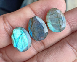 3 Pcs Labradorite Natural Gemstone Rose Cut Fancy VA1405