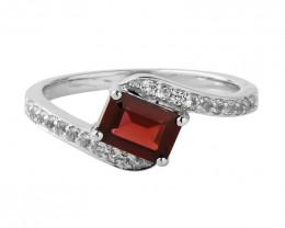 Garnet 925 Sterling silver ring #649