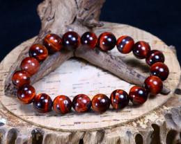 147.20Ct Natural Red Tiger Eye Beads Bracelet B1848