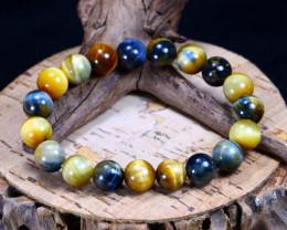 142.40Ct Natural Iron Tiger Eye Beads Bracelet B1854