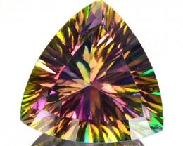 ~RAINBOW~ 4.03 Cts Natural Mystic Topaz 10mm Trillion Concave Cut Brazil