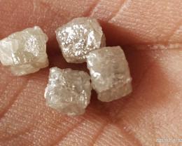NATURAL WHITE DIAMOND ROUGH-CUBESHAPE-3.80CARAT-4PCS