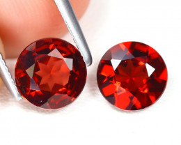 Spessartite 1.71Ct 2Pcs Round Cut Natural Spessartite Garnet Lot AB2052