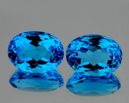 8x6 mm Oval 2 pcs 2.55cts Swiss Blue Topaz [VVS]