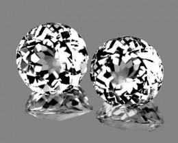 10.00 mm Round 2 pcs 9.22cts White Topaz [VVS}