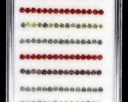 4.25ct 1.7mm 150p Round Diamond Cut 100%Natural Pad Pink Yell Green Sapphir