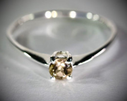 Brown Tourmaline .40ct Platinum Finish Solid 925 Sterling Silver Ring