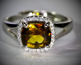 Sphene 1.80ct White Gold Finish Solid 925 Sterling Silver Ring