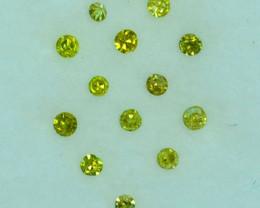 ~SET~ 0.10Cts Natural Sparkling Yellow Diamond 14Pcs Round 1.40mm  Africa