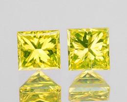 0.05 Cts Natural Diamond Golden Yellow 2Pcs Princess Cut Africa